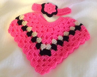 Pink black creamy white poncho headband set for 3 to 6 months