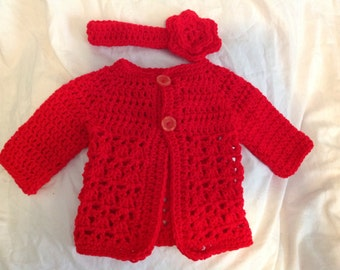 Red infant sweater and matching headband