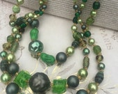 Vintage Green Multi Strand Beaded Necklace JAPAN, Glass Beads, Estate Jewelry