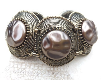 Vintage Selro Bracelet Taupe Faux Baroque Pearl Chunky Link