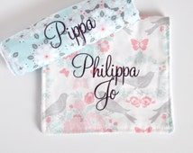Personalized Baby Girl Burp Cloths - Personalized Baby Girl Gift - Vintage Nursery - Baby Shower Gift for New Mom - Pink Aqua Coral Gray
