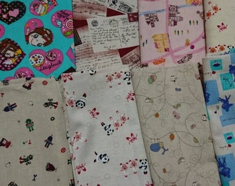 "Fat quarter, cotton linen, fabric ,bulk sale - 8 pieces, Check out with code ""5YEAR"" to save 20% off"