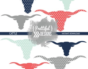 Cattle Longhorn Silhouette Clip Art Commercial Use PNG and Vector Format