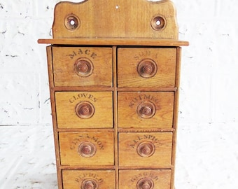 Antique  Spice Box Cabinet Apothecary AAFA . 8 Drawer Wooden Wall Cupboard