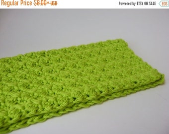 Crocheted Wash Cloth, Face Cloth, Dish Cloth, Lime Green Cotton