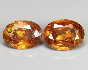 SPHALERITE (30519) Pair (2 Gems) Collectors!  Lively Mandarin Orange Sphalerite from Spain