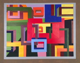 Acrylic Squares Rectangles Colorful Abstract Painting