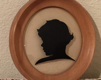 Victorian Silhouette Framed Glass and Wood
