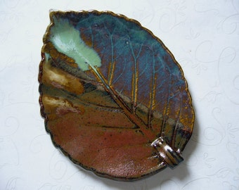 Melted Chocolate Surprise Pottery Leaf Spoon Rest