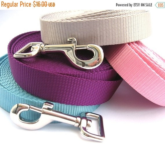 BIG Summer SALE 5ft Dog Leash- Choose Your Color- Solid Color Webbing