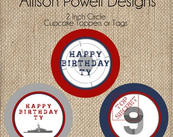 BattleShip, Military, Navy, Army Birthday Party Birthday Party Cupcake Toppers