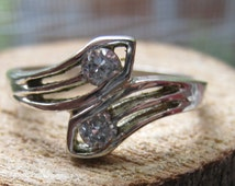 Vintage Sterling Silver Spoon Style Women's Ring with Cubic Zirconium Size 8