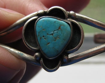 Vintage Sterling Silver Southwestern Women's Cuff Bracelet with Turquoise Stone