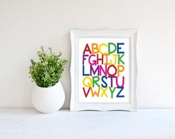 Custom Colors | ABC | Alphabet | Now I Know My ABC's | Nursery Art | Wall Art | Subway Art | Nursery Decor | 5x7 | 8x10 | 11x14