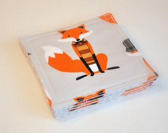 Coasters - Fabric - Set of 5  - Dapper Foxes - Red fox -