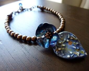 Dark Blue Metal Flower with Midnight Blue Petal and Deep Brown Glass Beads Bracelet