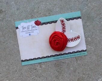 Baseball Hair Clip - Baseball Bow - Baseball Flower - Baseball Jewelry - St. Louis Cardinals Baseball  - Hair Clip Made from Baseball - STL