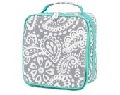 In Stock Ready to Ship Personalized Monogrammed Parker Paisley Grey Gray Mint Lunch Bag Box Tote -- Free Monogramming--FAST TURNAROUND