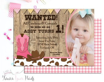 Cowgirl Birthday Invitation, Printable Cowgirl Invitation, Cowgirl Invitation, Girls Birthday Invitations, Western Birthday Party Invite
