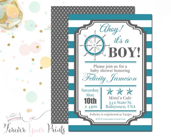 Striped Nautical Baby Shower Invitation, Boys Nautical Invitations, Nautical Shower Invitation, Ahoy It's a Boy, Sailor Baby Shower