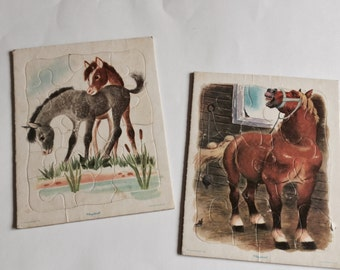 Set of 2 Vintage playskool pony/horse puzzle frame Tray Inlay