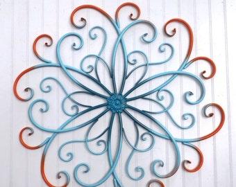 Large Metal Wall Art / Bedroom Wall Decor /Orange/ Teal /Aqua Home Decor