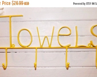 On Sale Yellow / Wrought Iron  / Bathroom Hook / Towel Rack / Metal Wall Decor / Iron Wall Hook