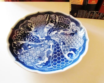 Large Imari Blue and White Chinoiserie Tray, Blue Kyoto, Mann, Japanese Porcelain, Blue and White