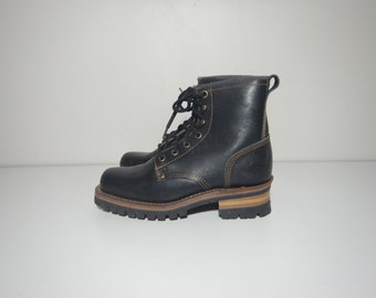 90s grunge hiker black leather stacked heel boots size