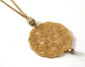 Celtic knot pendant, gold round pendant ,long pendant, 24 karat yellow gold plated pendant,swarovski pendant