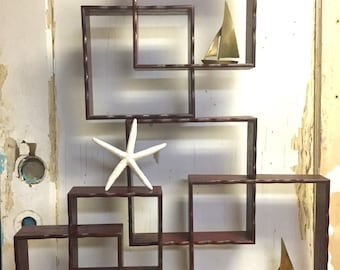 Vintage Cube Square Shelf Curio Interlocking Shadowbox Mid Century Modern Stacking at CastawaysHall - Ready to Ship