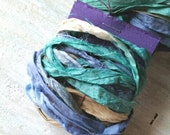 Sari Silk Ribbon ... 2 yards ... Dyed, Blue, Green, Cream, Purple, Trim, Destash