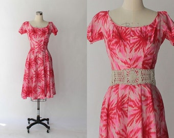 1950s Gigi Young Silk Party Dress // 50s Vintage Pink and White Print Full Skirt Dress // Small