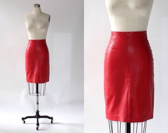 1980s Michael Hoban  Red Leather Pencil Skirt // Vintage High Waisted Leather Skirt - XS