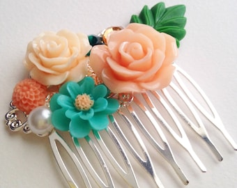 Peach and Teal Bridal Wedding Spring Gift Bright Silver Hair Comb Accessory