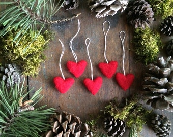 Felted wool heart ornaments, set of 5, Red, for Christmas tree decoration, Valentine's Day gift, wool felt red heart decor, wedding favor