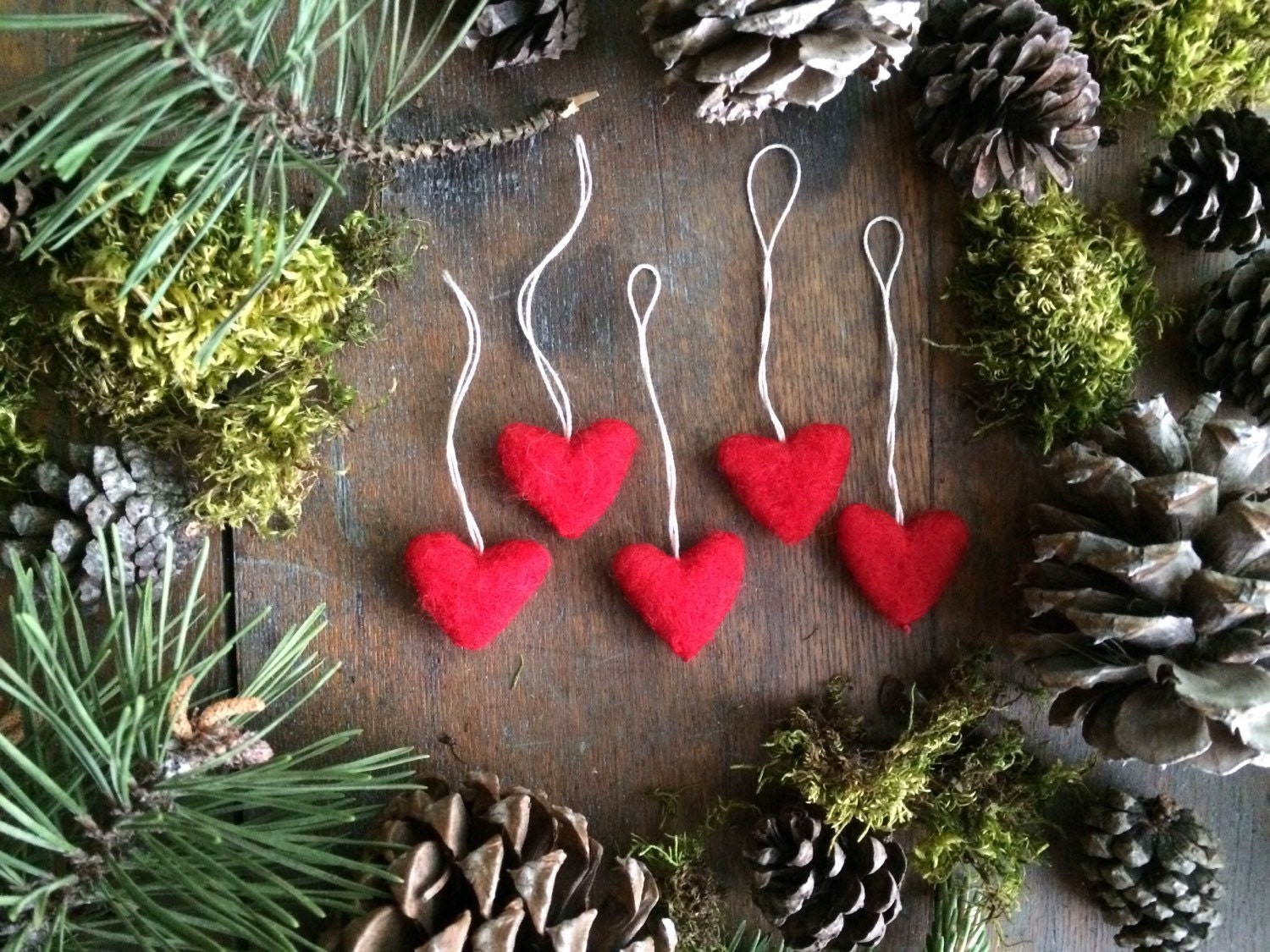Felted Wool Heart Ornaments Set Of 5 Red For Christmas Tree
