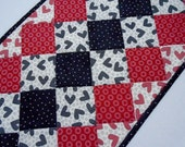 Modern Valentine Quilted Table Runner, Quilted Table Runner, Table Topper, Black White Red, Valentine Hearts