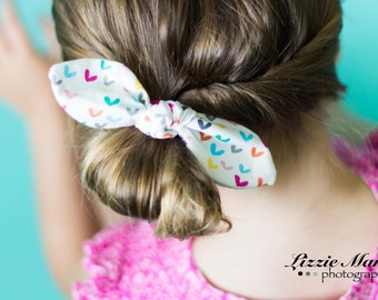 Girls Hair Bow - Girls Hair Tie - Knot Bow - Fabric Bow - Hair Bow - Heart Headband - Heart Hair Bow - Colorful Hair Tie - Fabric Hair Tie