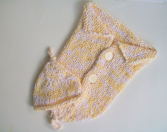 Yellow Cotton Baby Cocoon, Cotton Baby Peapod, Yellow Cocoon, Photo Prop