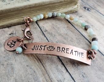 Just Breathe Bracelet - Yoga Jewelry- Dainty Beaded Bracelet - Lotus Flower - Om Symbol