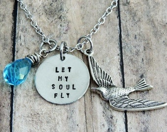 Soaring Bird Charm Necklace - Stamped Quote Jewelry - Let My Soul Fly - Blue Crystal - Silver Pewter
