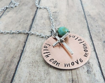 Christian Jewelry Cross Necklace Bible Verse Jewelry Religious Jewelry Inspirational Gift Faith Can Move Mountains Matthew 17:20