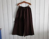 linen pant  in bittersweet chocolate brown  with ruffled pocket ready to ship