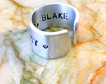 Love Ring, Stamped Metal Ring Band- Custom Hand Stamped Ring Band - Personalized Adjustable Ring  - Your Name, Quote - Forever Love Memorial