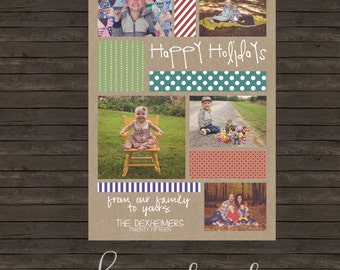 Patterns on Kraft Holiday Christmas Card - DIY Printing or Professional Prints