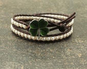 Elegant Irish Jewelry Pearl and Leather Four Leaf Clover Bracelet Cream Off White Green Four Leaf Clover Jewelry