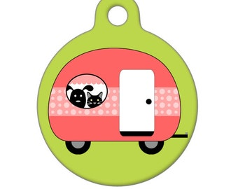 Pet ID Tag - Camping with My Best Friends - Pink Pet Tag, Dog Tag, Cat Tag