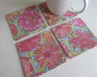 Set Of 4 Fabric Coasters/Pink Flower