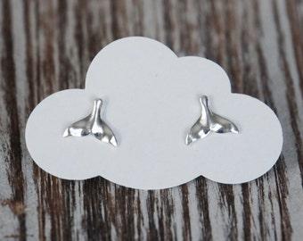 Sterling Silver Whale Tail Earrings, Stud Earrings, 8x10mm, Birthday Gift, Kids Earrings, Kids Jewelry, Children's Jewelry